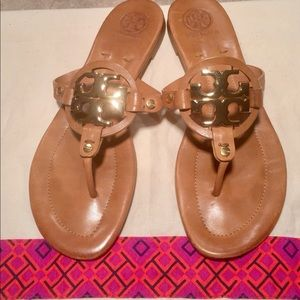 Tory Burch Tan Leather Miller 2 Leather Sandals
